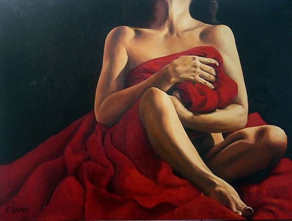 Nude Poster featuring the painting Draped In Red by Trisha Lambi