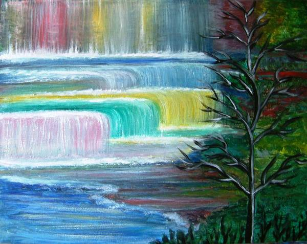 Landscape Poster featuring the painting Dream Falls by Manjiri Kanvinde