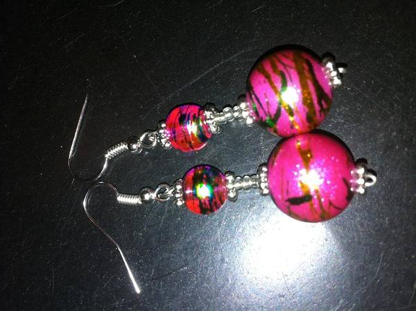 Earrings Made With Duo Colored Foil Glass Beads And Sterling Silver Beads Poster featuring the jewelry Dream by Jeanne Poller