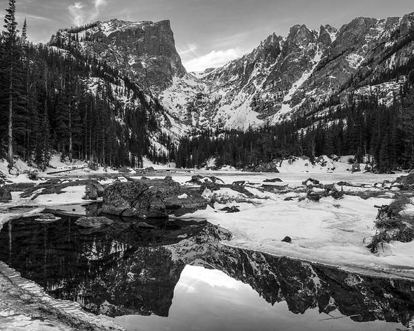 Colorado Poster featuring the photograph Dream Lake Reflection Black And White by Aaron Spong