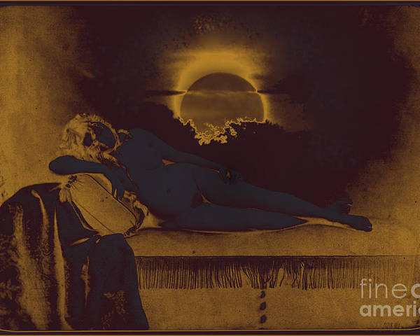 Altered Antique Photograph Gustave Le Gray Peter Mix Classic Reclining Nude Asleep On Cushioned Chaise Sun Moon Dawning Over A Dream Poster featuring the photograph Dreaming Of The New Dawn. Reclining Nude Bathed In Blue. by Peter Mix and Gustave Le Gray