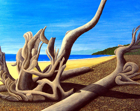 Landscape Artwork Poster featuring the painting Driftwood - Nature's Artwork by Frederic Kohli
