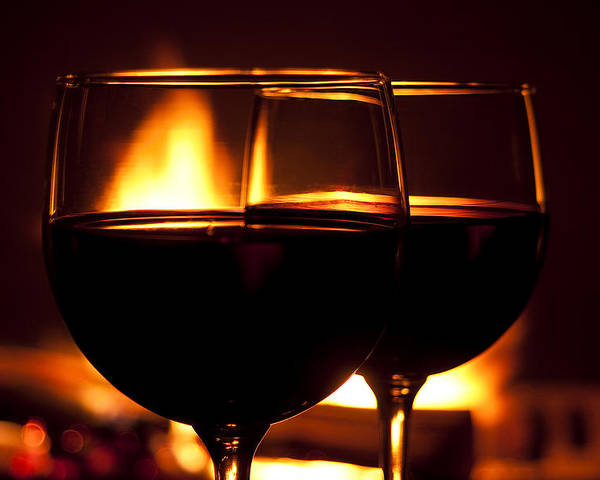Wine Poster featuring the photograph Drinks By The Fire by Andrew Soundarajan
