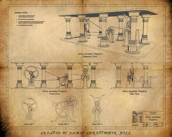Steampunk; Gears; Housing; Cogs; Machinery; Lathe; Columns; Brass; Copper; Gold; Ratio; Rotation; Elegant; Forge; Industry; Copyright 2010 - James Christopher Hill Poster featuring the painting Drive Assembly Platform by James Christopher Hill