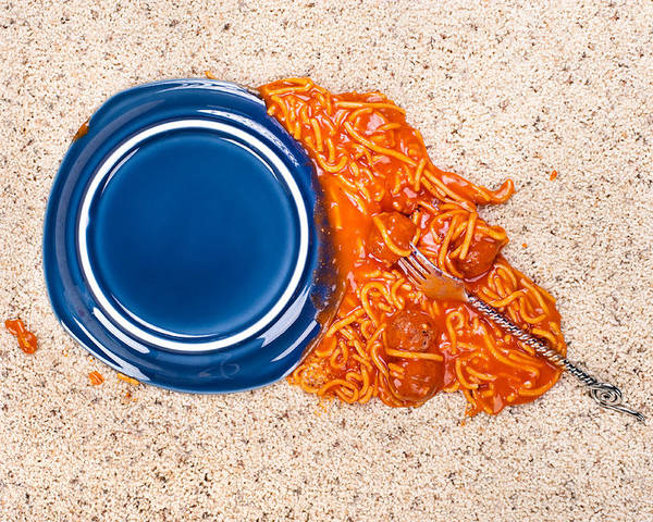 Spaghetti Poster featuring the photograph Dropped Plate Of Spaghetti On Carpet by Joe Belanger