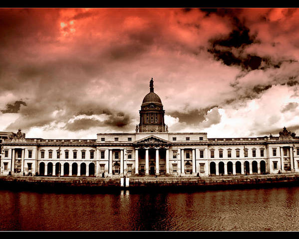 The Custom House Poster featuring the painting Dublin - The Custom House by Alex Art and Photo