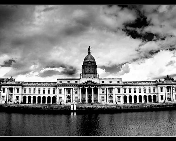 Black And White Photography Poster featuring the painting Dublin - The Custom House - Bw by Alex Art and Photo