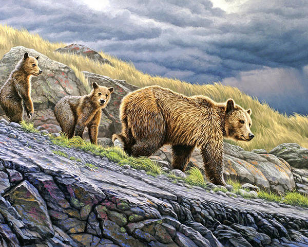Wildlife Poster featuring the painting Dunraven Pass Grizzly Family by Paul Krapf