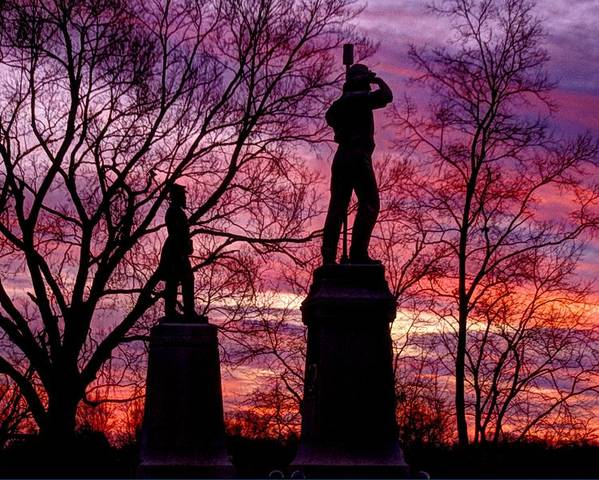 Civil War Poster featuring the photograph Durell's Independent Battery D And 48th Pa Volunteer Infantry-a1 Sunset Antietam by Michael Mazaika