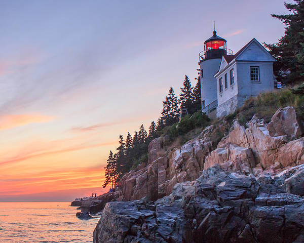 Bass Harbor Light Poster featuring the photograph Dusk At Bass Harbor Light by Stephen Beckwith