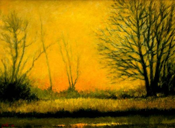 Landscape Poster featuring the painting Dusk At The Refuge by Jim Gola