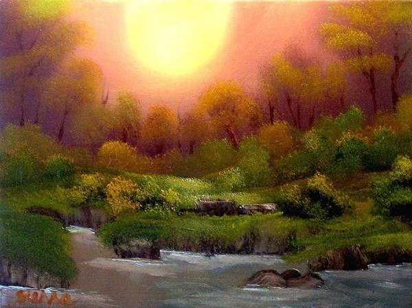 Landscape Poster featuring the painting Dusk On The Riverbank by Dina Sierra
