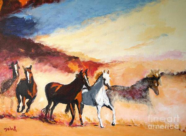 Horses Poster featuring the painting Dust In The Wind by Judy Kay