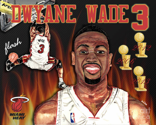 Dwyane Wade Poster featuring the mixed media Dwyane Wade by Israel Torres