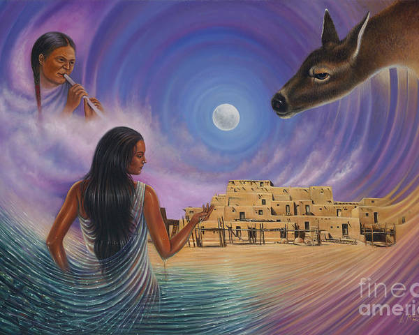Taos Poster featuring the painting Dynamic Taos Il by Ricardo Chavez-Mendez