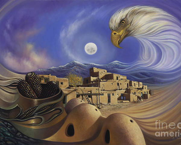 Taos Poster featuring the painting Dynamic Taos Ill by Ricardo Chavez-Mendez