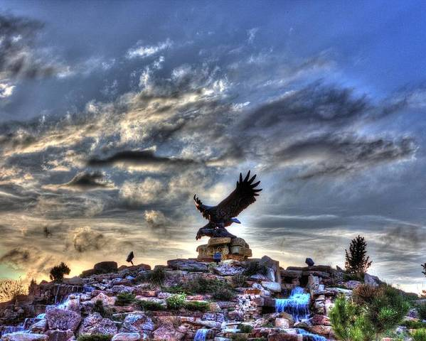 Hdr Poster featuring the photograph Eagle Fountain by Michael Brondum