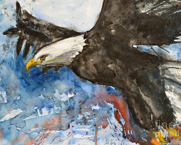 Flying Eagle Poster featuring the painting Eagle In Flight by Ismeta Gruenwald