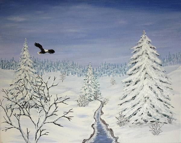 Flying Eagle Acrylic Painting Poster featuring the painting Eagle On Winter Lanscape by Georgeta Blanaru
