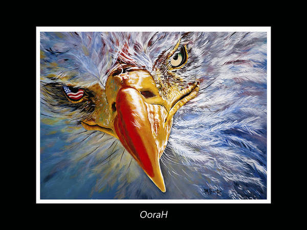 Bald Poster featuring the painting Eagle Oorah by Donna Proctor