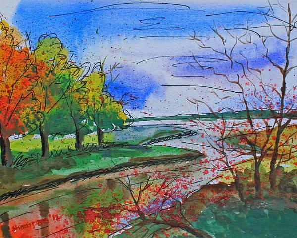 Shakhenabat Poster featuring the painting Early Autumn Landscape by Shakhenabat Kasana