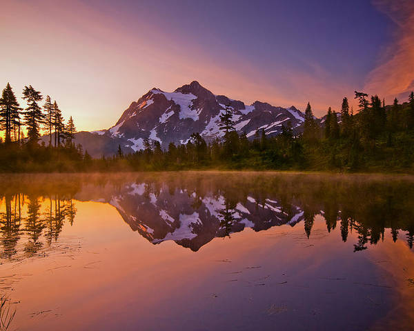 Sunrise Poster featuring the photograph Early Morning At Picture Lake by Darren White