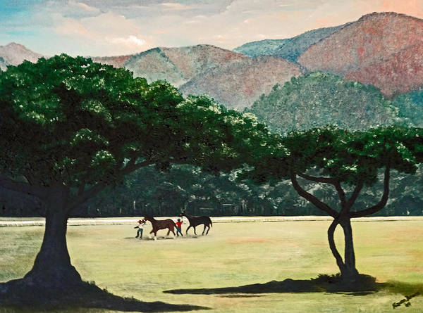 Trees Poster featuring the painting Early Morning Savannah by Karin Dawn Kelshall- Best