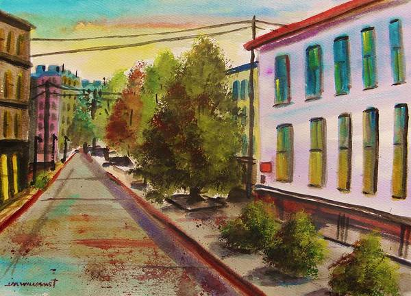 Early Morning Poster featuring the painting Early Morning Side Street by John Williams