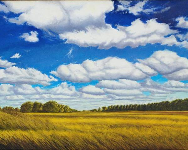 Wheat Poster featuring the painting Early Summer Clouds by Leonard Heid