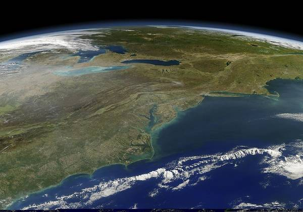 Us East Coast Poster featuring the photograph East Coast Of The Usa, Satellite Image by Science Photo Library