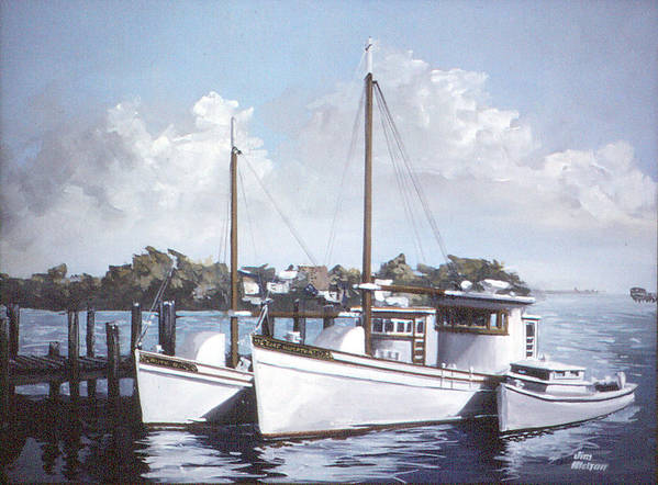 Work Boats Poster featuring the painting East Hampton by Jim Melton