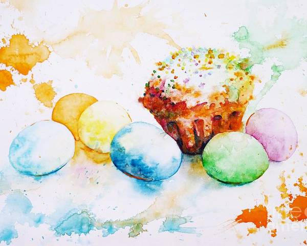 Easter Poster featuring the painting Easter Colors by Zaira Dzhaubaeva