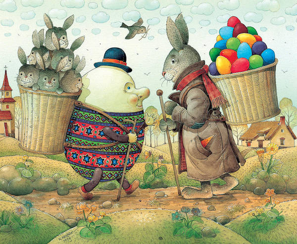 Easter Eggs Rabbit Spring Green Landscape Poster featuring the painting Eastereggs 03 by Kestutis Kasparavicius
