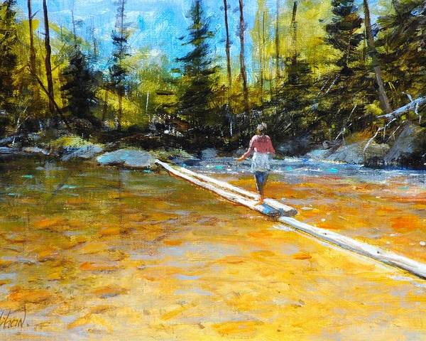 Mountain Stream Poster featuring the painting Easy does it by Greg Clibon