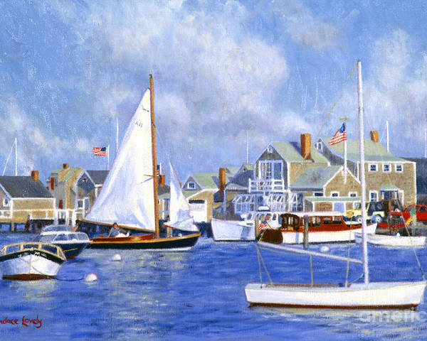Nantucket Poster featuring the painting Easy Street Basin Blues by Candace Lovely