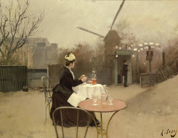 Outdoors; En Plein Air; Windmill; Table; Tables; Cafe; Bar; Drinking; Lunch; Snack; Meal; Food; French; Alone Poster featuring the painting Eating Al Fresco by Ramon Casas i Carbo