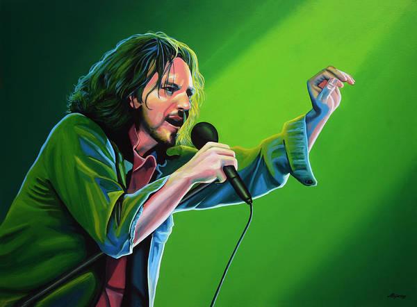 Eddie Vedder Poster featuring the painting Eddie Vedder Of Pearl Jam by Paul Meijering