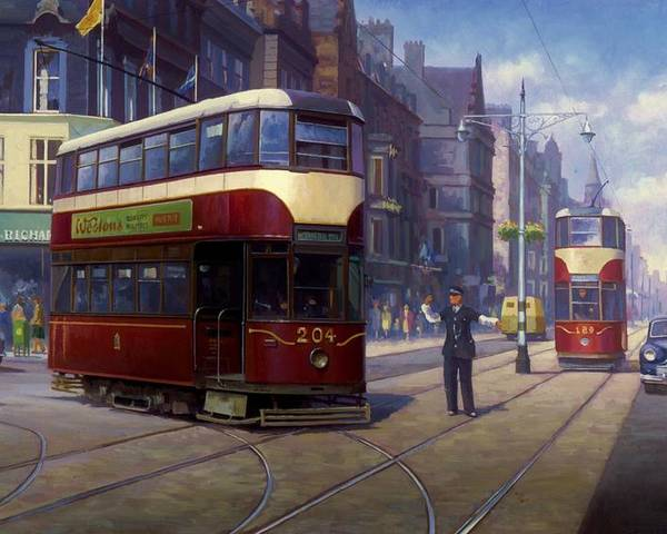 united Kingdom Poster featuring the painting Edinburgh Tram 1953. by Mike Jeffries