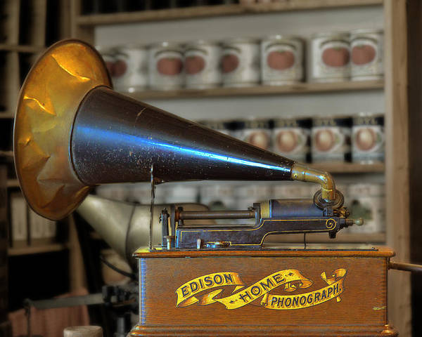 Antique Poster featuring the photograph Edison Home Phonograph With Morning Glory Horn by Christine Till