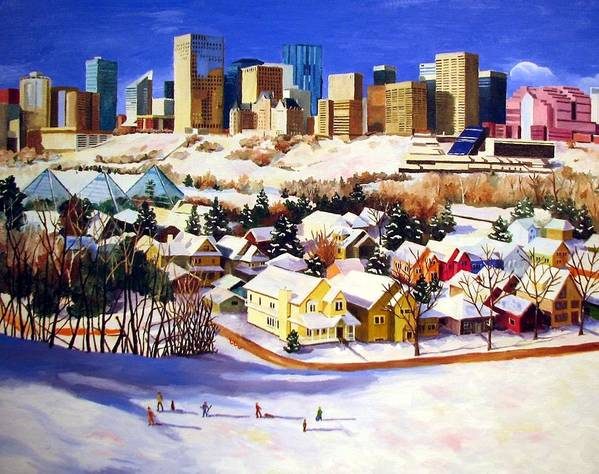 Urbanscape Poster featuring the painting Edmonton In Winter by Nel Kwiatkowska