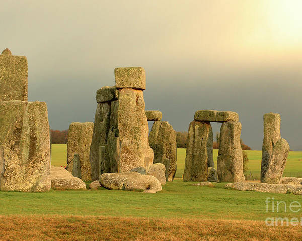 England Poster featuring the photograph Eerie Stonehenge 2 by Deborah Smolinske
