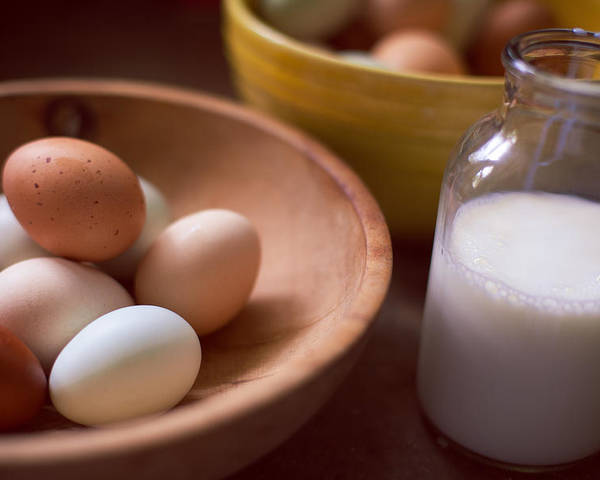 Eggs Poster featuring the photograph Eggs Bowls And Milk by Toni Hopper