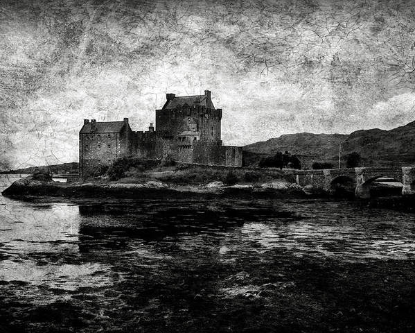 Eilean Poster featuring the photograph Eilean Donan Castle In Scotland Bw by RicardMN Photography