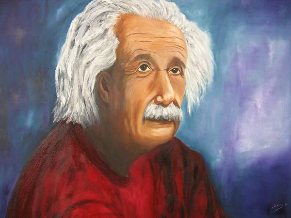 Doris Cohen Poster featuring the painting Einstein by Doris Cohen