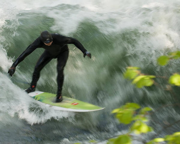 Eisbach Poster featuring the photograph Eisbach Surfing by Hildie Hofmann