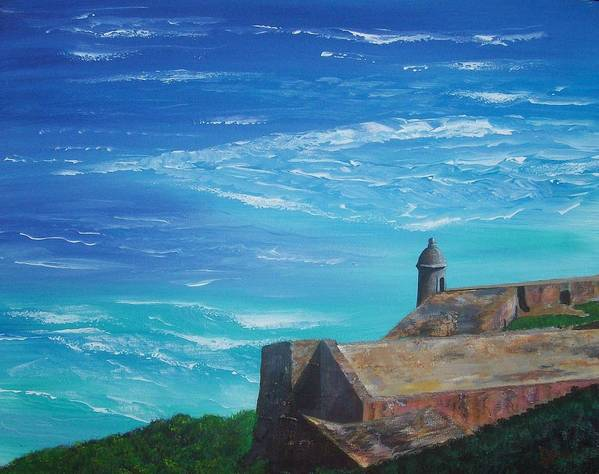 El Morro Ii Poster featuring the painting El Morro II by Tony Rodriguez