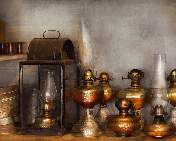 Savad Poster featuring the photograph Electrician - A Collection Of Oil Lanterns by Mike Savad