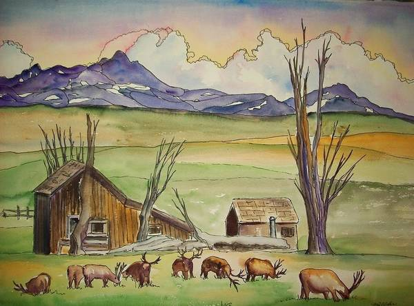 Elk Poster featuring the painting Elk Down From The Mountains by Margaret Older