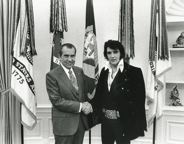 Elvis Presley Poster featuring the digital art Elvis and Nixon by Unknown