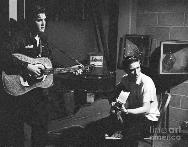 Elvis Presley Poster featuring the photograph Elvis Presley and Scotty Moore 1956 by The Harrington Collection